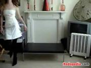Skinny Redhead Stripping At Home