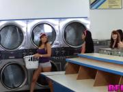 Horny beauties being naughty and fucking in the laundry room