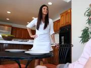 Sexy hot MILF having fun with teen couple in the kitchen