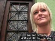 Blonde Hungarian bangs in public