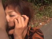 avmost.com - Non naked Japanese chick smokes her man's flesh cigar on a park