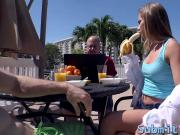 Naughty Sydney Cole gets her boyfriends dick for breakfast