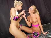 Hot lesbians fill up their big asses with whipped cream and splash it out