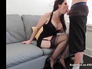 Perfect deepthroat blowjob private show sucking red lips