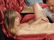 Lovesome cutie stretches wet honey pot and loses virginity