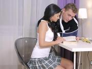 Sultry schoolgirl gets teased and drilled by her older mentor