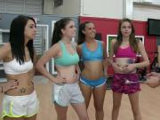 These four teens goes naked on work out their clothes came off