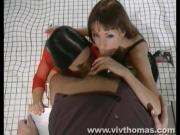 Two Shameless Babes Cum Over A Needy Rod