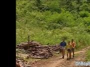 Gay threesome into the woods swaps anal rimming and fucking