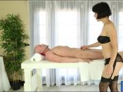 Beautiful masseuse Coco enjoyed hard dick and facial cum