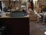 Brunette babe sells her stuff and fucked by nasty pawn dude