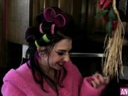 Tattooed housewife Joanna gets anally drilled in a kitchen