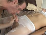 Pretty shemale Vivian Rockwell in pantyhose asshole pounded