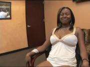 Ebony babe goes interracial at the office