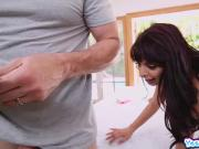 Gina Valentina lubricating her mans thick cock