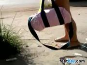 Cute Girl Wearing Sandals Candid