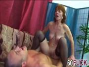 Brunette granny Ivet fucking black stockings shaved