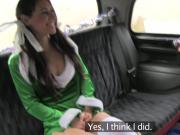 Santa fucks brunette elf in fake taxi
