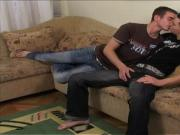 One On One Gay fuck in the living room blowjob and bareback