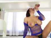 Massive tits masseuse works on hard dick under the table