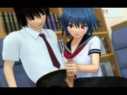 3D Busty Coed Plays in School Library!