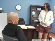Young Brunette Strips And Touched By Instructor