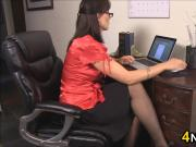 Cumming On Her Nylons In The Office