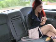 Redhead porn model fucks in fake taxi