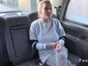 Busty blonde Brit anal screwed in cab
