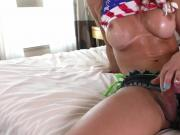 Big boobs shemale gets her ass ripped by hard man meat