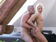 Ravishing petite cutie gets her soft quim and small ass hole rode