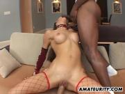 Busty amateur girlfriend interracial threesome with cum