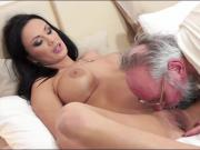 Busty Samantha Rebeka sucking and banged by a horny old dude