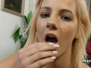 Chick jerks cock until have messy cum load on her face