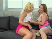 Booby momma and teen blonde pleasuring each others pussies