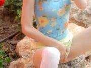 Petite skinny doll pose
