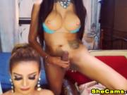 Two Hot Shemales Suck Each Other Off Live
