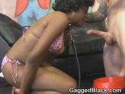 Ebony Slut In Pink Bikini Getting Face Smashed By White Guy