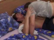 Twink blowjob and hot bareback anal bed fuck
