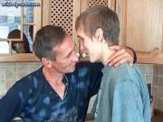 Teen boy gets mouth filled by old dick