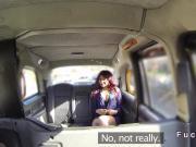 Ebony gags and fucks big cock in cab