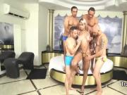 Latina shemale enjoy in gangbang