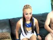 Ebony teen getting laid on the couch