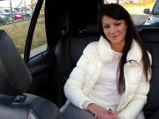 Euro babe in panties banging in fake taxi