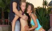 Two Captivating Brunette Teens Enjoy 1 Yummy Dick