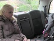 Two busty blonde have anal threesome in cab