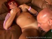 Hot mature redhead with extremely large breasts riding big dick on the sofa