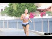 Sexy amateur sporty babe jogging topless in public