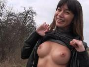 Sexy Russian babe Mona Kim in an outdoor cock sucking action