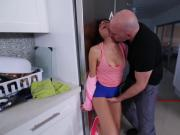 Jmac feeds Kira Adams his big thick cock deep in her throat